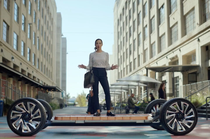 An image from Cadillac's all electric future video featuring Ultium Batteries