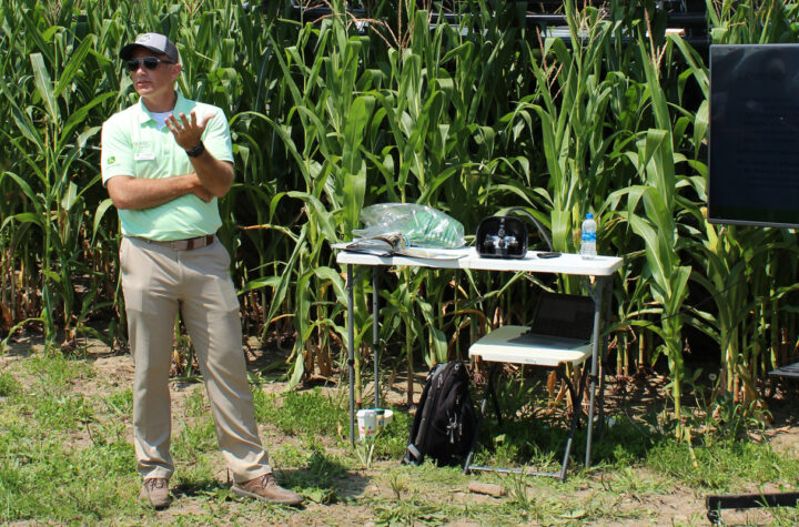 Tom Sutter of LandPro Equipment spoke on late-season fungicide application at the 2021 crop tour