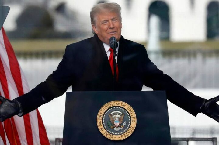 U.S. President Donald Trump speaks to his supporters at the Save America Rally on the Ellipse on Wednesday, Jan. 6, 2021, near the White House in Washington, D.C. (Yuri Gripas/Abaca Press/TNS)